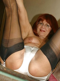 Undies gals - Mature slut with respect to stockings on stairs
