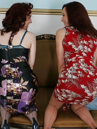 Panty photos - Of age milf and younger daughter lift their skirts