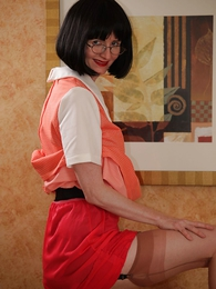 Panty pictures - Girdle topless tease in a fruit dress