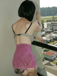 Undies pics - Mature milf Julia strips give her vintage sash