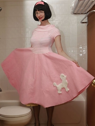 Panty gals - Poodle skirt bathroom battle-axe