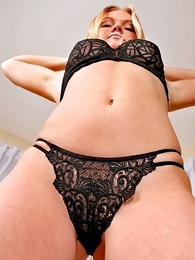 Panty pics - Blonde Angela pulls her black panties dissipated