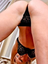 Thongs pics - Blonde Angela pulls her black panties immoral