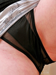 Undies pics - Anna demonstrates her black see-through boxer shorts
