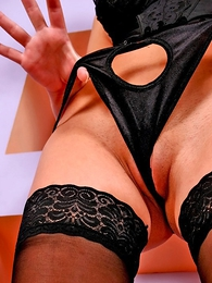 Thongs pics - Scatological hotsy nigh black unmentionables and stockings