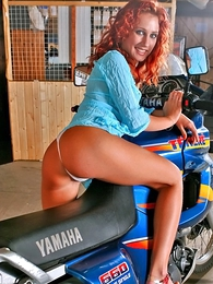 Girl in panties photo - Redhead Liza upon white pantihose loves bikes and show herself!