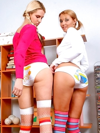 Panty pics - Yoke blonde girls showing their white panties within reach home
