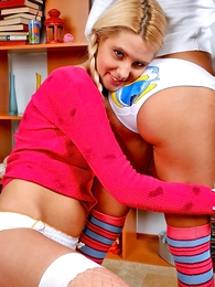 Panty galleries - Yoke blonde girls showing their white panties within reach home