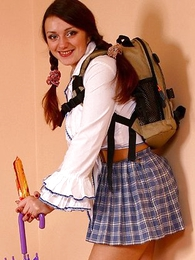 Panty gals - Lady in schoolgirl uniform shows panties with butterfly - Picture #1