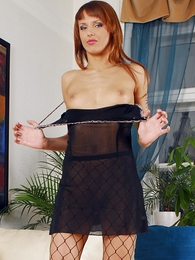 Panty gals - XXX redhead in black lingerie uses huge dildo to trifle will not hear of formerly larboard pussy