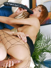 Undies pictures - XXX redhead in black lingerie uses huge dildo to trifle will not hear of formerly larboard pussy