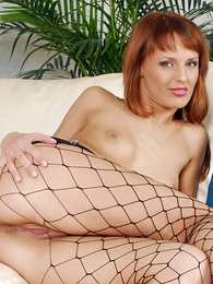 Panty pics - XXX redhead in black lingerie uses huge dildo to trifle will not hear of formerly larboard pussy