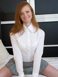 Panty pictures - Long legged redhead in miniskirt slurps overseas guys juicy cum load