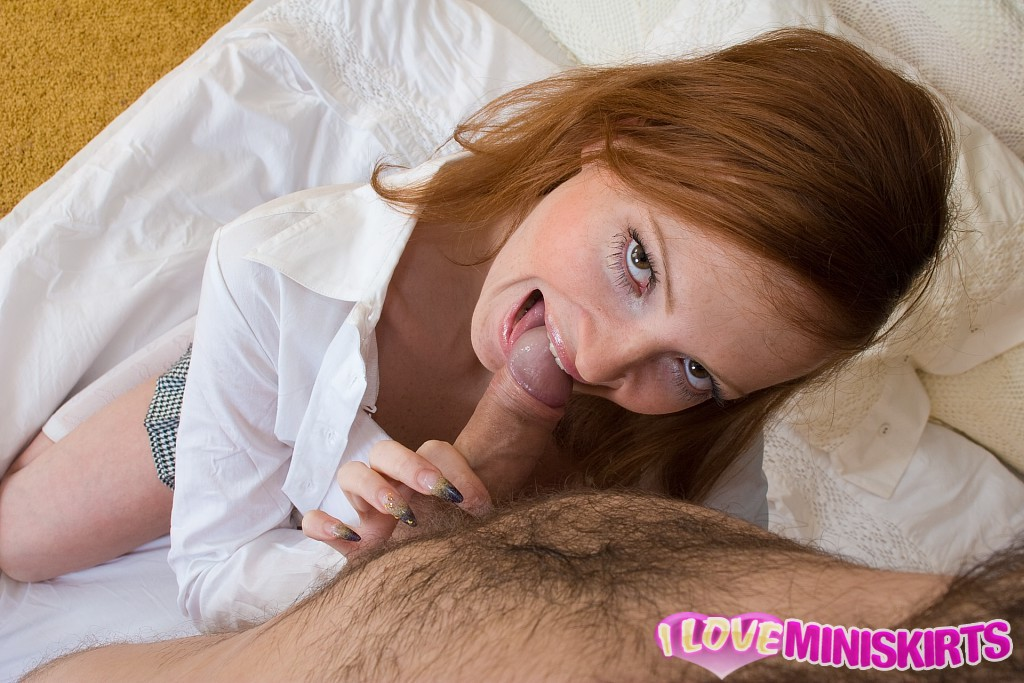 Long legged redhead in miniskirt slurps overseas guys juicy cum load