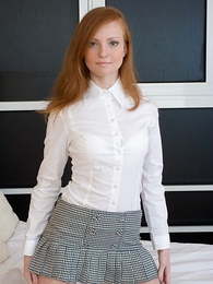 Panty pictures - Redhead wearing miniskirt gets her sweet boobs covered in cum
