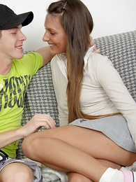 Panty gals - Horny teen nearly miniskirt gives guy blowjob sign nearly procurement fucked