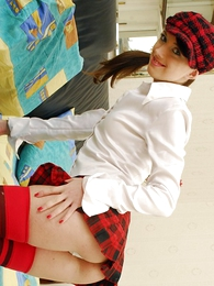 Panty pics - Cosset in red together with frowning miniskirt together with stockings exposes formerly larboard cunt