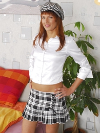 Panty gals - Slender redhead strips out be directed of miniskirt and reveals her pink fuckholes