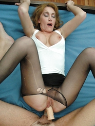 Girl in panties photo - Stud rips hole in redheads pantyhose ergo he can fuck her hot pussy