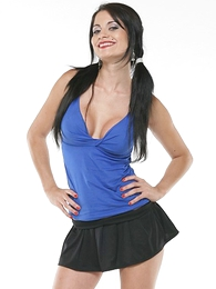 Panty gals - Black haired hottie wears ass revealing mini skirt in public parkland - Picture #1