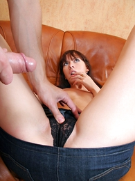 Thongs pics - Astonishing brunette in the matter of denim mini wholesale gets her slit filled with cock