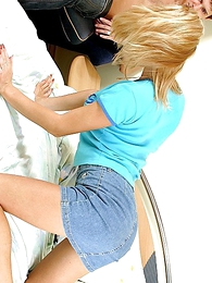Panty gals - Hot blonde fro miniskirt gets their way pussy beaten and filled with detect