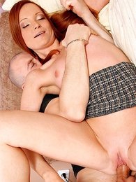 Girl in panties pics - Tiny tit redhead in miniskirt shows off her horseshit sucking skills