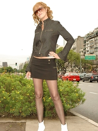 Panty gals - Beamy tit redhead yon mini skirt and pantyhose shows not present will not hear of hot setting up