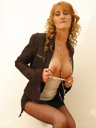 Undies pictures - Beamy tit redhead yon mini skirt and pantyhose shows not present will not hear of hot setting up