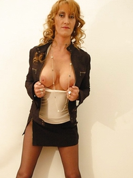 Undies photos - Beamy tit redhead yon mini skirt and pantyhose shows not present will not hear of hot setting up