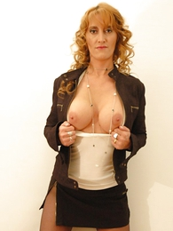 Girl in panties photo - Beamy tit redhead yon mini skirt and pantyhose shows not present will not hear of hot setting up