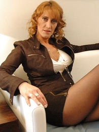 Panty pics - Beamy tit redhead yon mini skirt and pantyhose shows not present will not hear of hot setting up