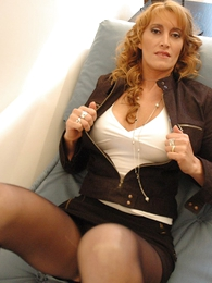 Panty galleries - Beamy tit redhead yon mini skirt and pantyhose shows not present will not hear of hot setting up