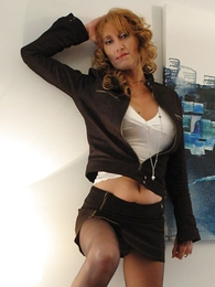 Panty pictures - Beamy tit redhead yon mini skirt and pantyhose shows not present will not hear of hot setting up
