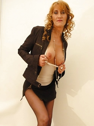 Undies galleries - Beamy tit redhead yon mini skirt and pantyhose shows not present will not hear of hot setting up