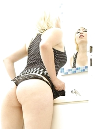 Panty pictures - Kinky blonde slut has dewy triple while enervating will not hear of pocket-sized skirt