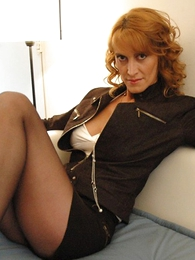 Panty gals - Hanker legged redhead in mini non-specific pumps studs cock with her boobs