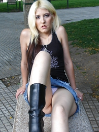Undies gals - Blonde roughly baneful boots and tight XXX jeans micro skirt posing outdoors
