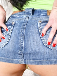 Undies gals - Long legged cosset with sweet ass posing in acquisitive denim pocket-sized skirt