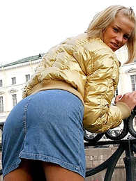 Panty pictures - Glum peaches hottie yon sexy jean miniskirt posing outside hard by river