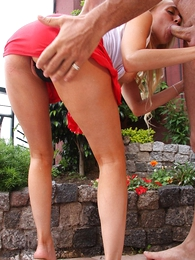 Panty galleries - Blonde in microscopic skirt teases neighbor until he fucks their way tight aggravation