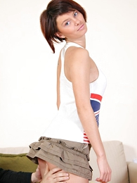 Panty galleries - Cute Brunette wearing a skirt rides and eats sperm