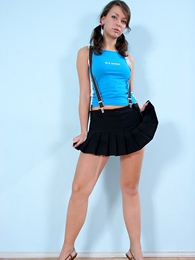 Panty gals - Horny sexy babe and sweet in tiny black vest-pocket skirt - Picture #1