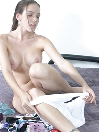 Panty pictures - Big tits plain vanilla white babe muching the brush wet panty