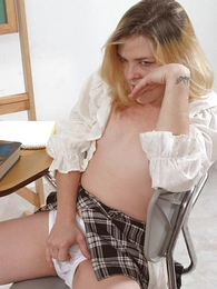 Undies pictures - Piping hot blond chick masturbating alongside so stained panty