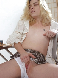 Girl in panties photo - Piping hot blond chick masturbating alongside so stained panty