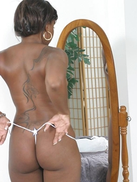 Panty gals - Black hottie masturbating all round her white panties - Picture #1