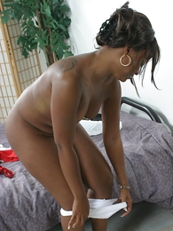 Undies pictures - Black hottie masturbating all round will not hear of namby-pamby small-clothes