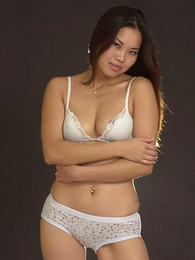 Panty pictures - Lovely Asian chick in sexy white underthings