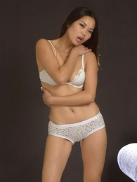 Panty photos - Lovely Asian chick in sexy white underthings